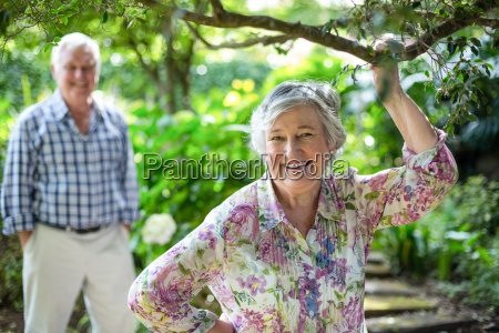 senior woman with husband standing in