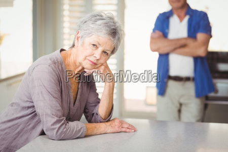 portrait of worried senior woman with