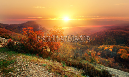 red autumn in mountains