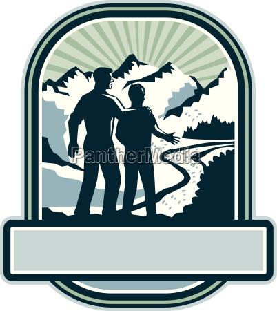 father son journey mountains crest retro