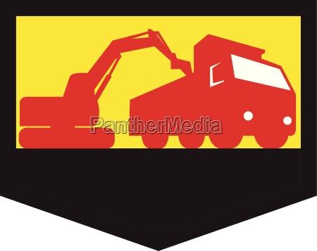 mechanical digger loading dump truck shield