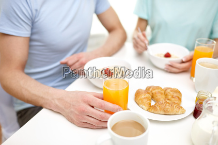 close up of couple having breakfast