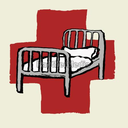 illustration of hospital bed against international