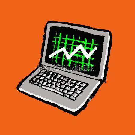 illustration of laptop with progress graph