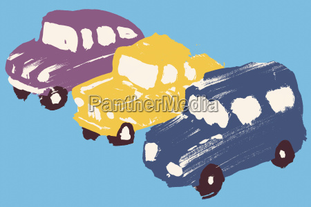 illustration of cars parked in a