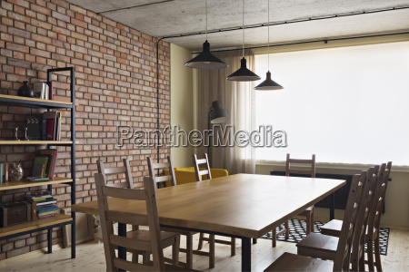 arranged dining table at home