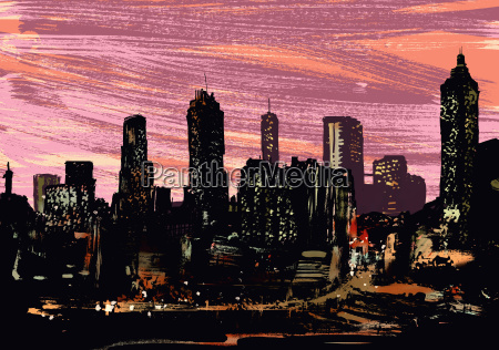 illustrative image of illuminated cityscape at