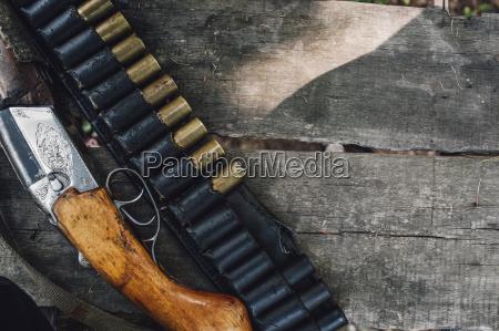 high angle view of gun and