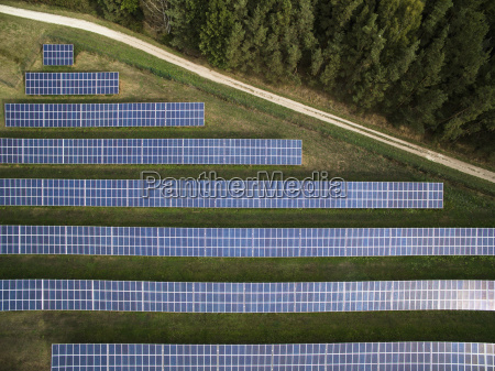 aerial view of solar panels in