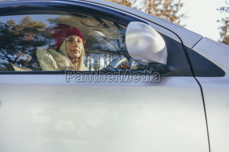 low angle view of woman driving