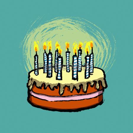 illustrative image of birthday cake against