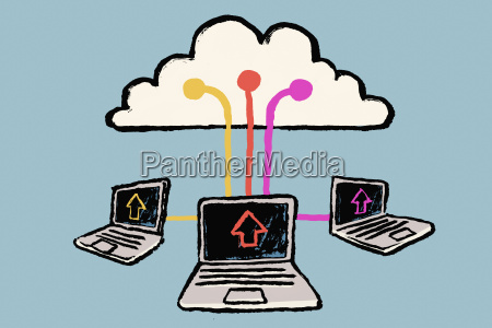 illustration of laptops connected to cloud