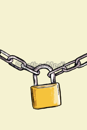 illustration of padlock attached to chains