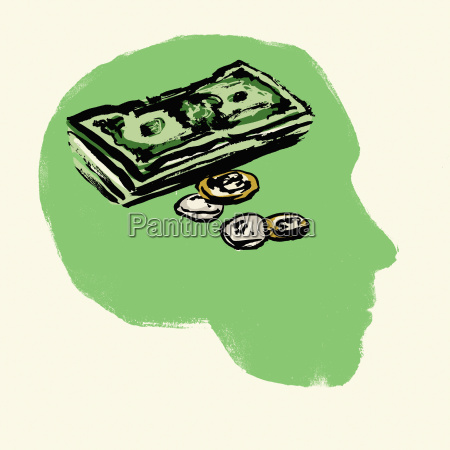 illustration of coins and paper notes