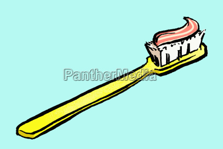 illustration of toothbrush with paste against