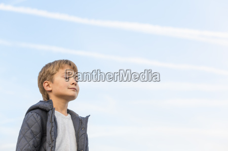 low angle view of boy with