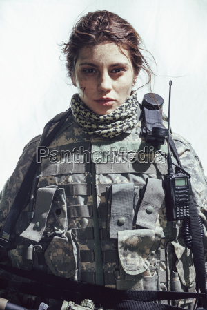 portrait of army soldier standing against