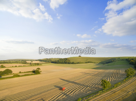 aerial landscape view of sunny barley
