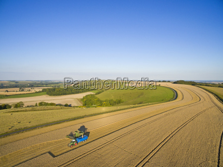 scenic aerial landscape view of combine