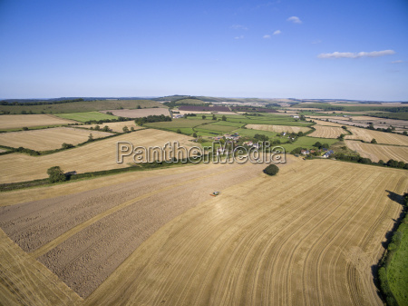 scenic aerial landscape view of sunny