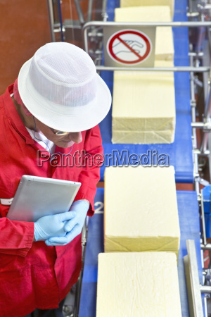 high angle view quality control worker