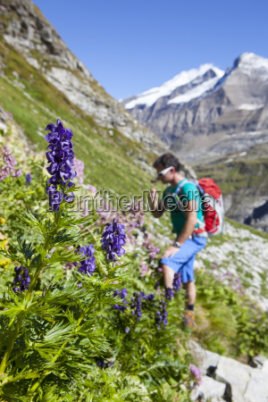 a male hiker is smelling a