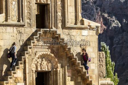 tourists visiting noravank church armenia