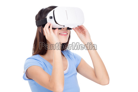 young woman wearing virtual reality device