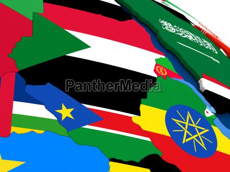 sudan and south sudan on globe