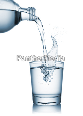 pouring water on glass
