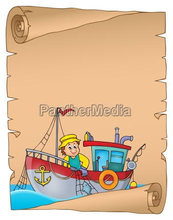 parchment with fishing boat theme 1