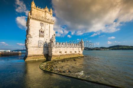 lisbon portugal at belem tower on