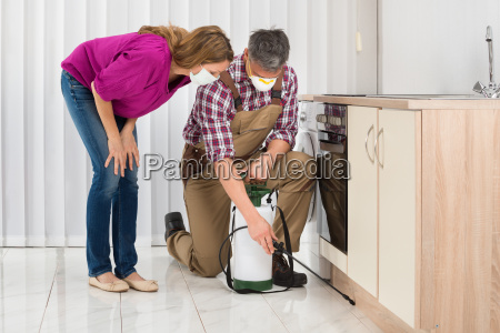 male worker spraying insecticide in kitchen