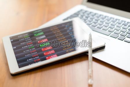 digital stock market chart on white