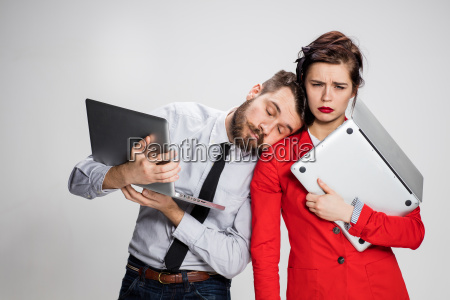 the young businessman and businesswoman with
