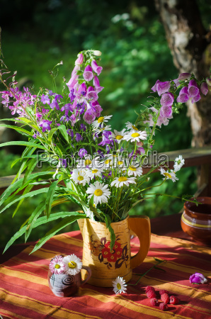 bouquet of daisies in a jug