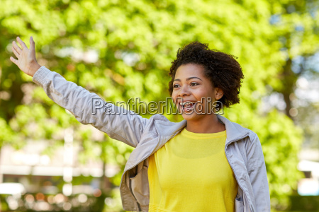 happy african american young woman in