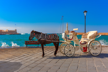 horse carriage old harbour chania crete