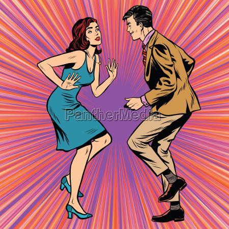 retro man and woman dancing pop