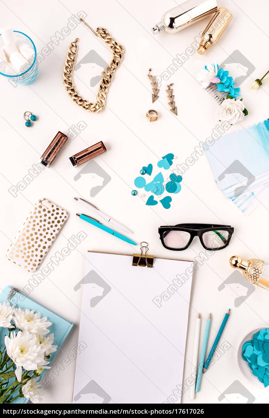 Royalty free image 17617026 - Still life of fashion woman blue objects on  white
