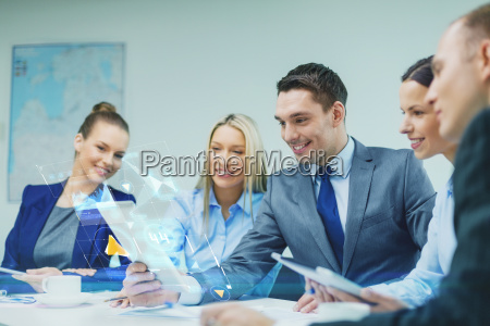 business team with tablet pc having