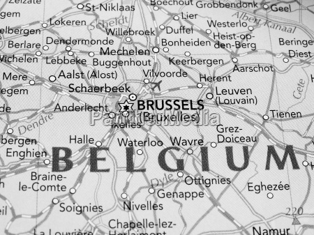 brussels map detail with selective focus