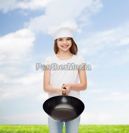 smiling little girl in white blank