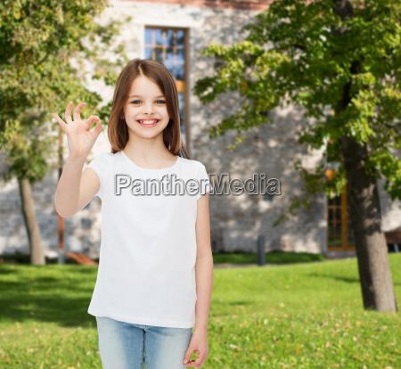 smiling, little, girl, in, white, blank - 17670230