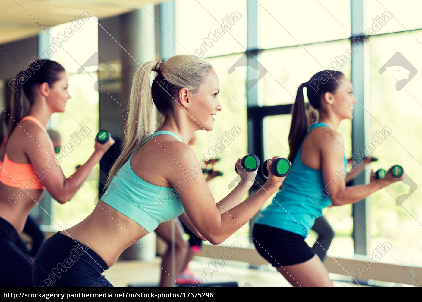 group, of, women, with, dumbbells, and - 17675296