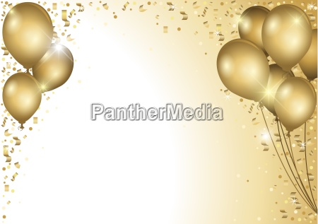 gold balloons and falling confetti