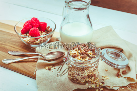 muesli in glass with fruits