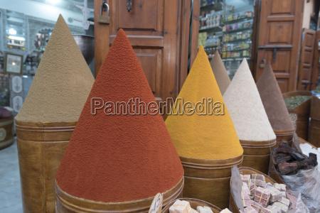 spices in market marrakesh morocco