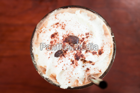 iced coffee toping with whipped cream
