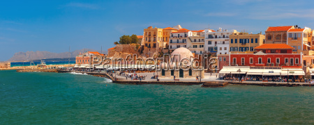 panorama of old harbour chania crete